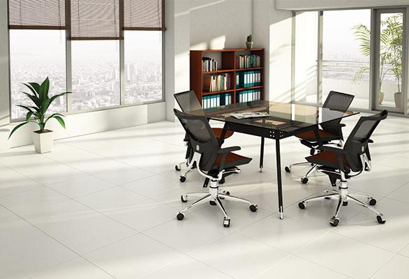 میز-مربع-پایه-مورب-فلزی-صفحه-شیشه-ای-یونیکا-تیپ-4142 - https://mohitara.com